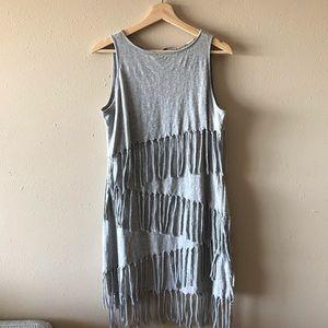 Chelsea & violet gray cotton fringe tank dress